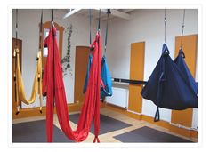 AntiGravity Yoga, the brainchild of acrobat and gymnast Christopher Harrison, involves a thorough workout a few feet above the ground in a silk hammock that can close around the person inside to form a peaceful pod.
