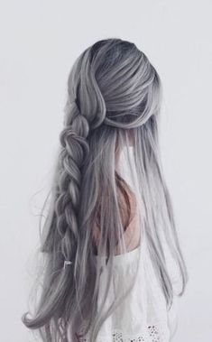 42 cool pastel hair color ideas for 2017 hair color gray silver, silver hair girl Grey Hair Wig, Ash Hair, Silver Grey Hair, Purple Hair, Silver Color, Silver Hair Colors, Silver Lavender Hair, White Ombre Hair, Grey White Hair