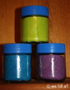 gluten-free playdough! Use rice flour instead of almond flour-less expensive and nut free.  Use koolaid or spices instead of food coloring for a great fragrance.  Store in Wylers Chicken Bouillon cube containers.  Wash in dishwasher first since the bouillon contains wheat.