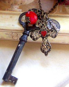 Vintage Key Necklace, Antiqued Brass Filigree
