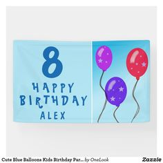 Cute Blue Balloons Kids Birthday Party Banner