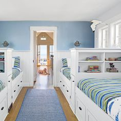 Embrace the Power of Built-ins - 20 Fun, Beachy Bunk Rooms - Coastal Living Mobile Coastal Bedrooms, Coastal Living Rooms, Shared Bedrooms, Home Bedroom, Bedroom Decor, Girls Bedroom, Bedroom Beach, Bedroom Ideas, Bedroom Storage