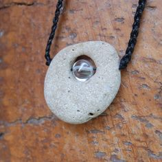 Hag stone, Quartz jewelry - wishing stone necklace - beach pebble with natural hole - handmade in Australia - natural, sacred jewellery by NaturesArtMelbourne on Etsy