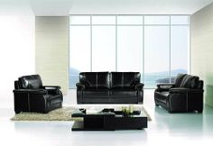 """New 3pc Contemporary Modern Leather Sofa Set #AM-299-B-BLACK by UTM. $1799.00. * It is made of 100% selected premium soft bonded leather. * All of the seats and backs are high density (1.9) foam to give comfort and support. * Solid wood frame use in the sofa construction. * All corners are """" blocked"""", nailed and glued for strength and durability. UTM 3 pcs contemporary modern leather sofa set will include ONE sofa + ONE love + ONE CHAIR. Available Colors See above picture, ..."""