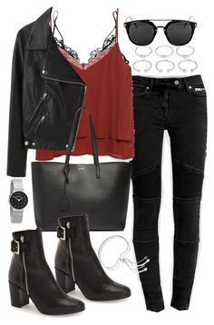 """""""Outfit with jeans and a leather jacket"""" by ferned on Polyvore featuring AllSaints, Kiki de Montparnasse, Zara, Forever 21, Acne Studios, Yves Saint Laurent, Topshop, Skagen and Monica Vinader"""