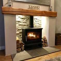 Wood Burner Fireplace, Inglenook Fireplace, Home Fireplace, Fireplace Remodel, Living Room With Fireplace, Fireplace Design, Country Fireplace, Cottage Fireplace, Wood Stove Hearth