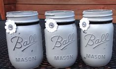 Set of 3 Painted Mason Jars. Painted with by JenmarksCraftyShop, $18.00