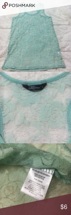 Beautiful Mint Green Lace Tank Size large. Great condition. Wallflower Tops Tank Tops