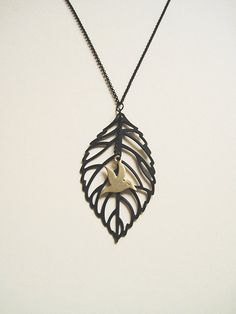 SALE 30 OFF bird leaf necklace by PoetryDay on Etsy, €11.20