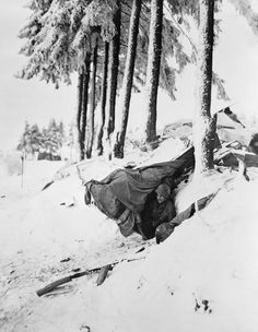 """ Sergeant John Opanowski of the 10th Armoured Division, emerging from a dug-out built under snow in the Bastogne area. "" The 10th Armoured Division, along with the 101st Airborne Division, were pinned down in the Bastogne area by General von..."