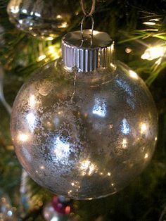 DIY Mercury Glass ornaments. Beautiful!