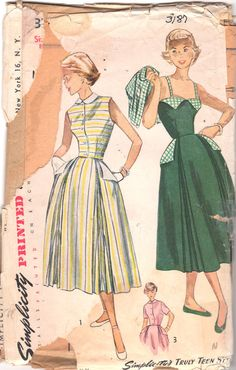 Simplicity 3187 1950s Sun Back Sundress and  Jacket Full Skirt Boned Bodice Shoulder straps womens vintage sewing pattern by mbchills