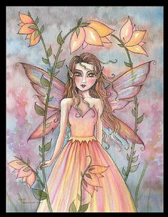 Fairy Art: Glow of Summer by Artist Molly Harrison Fairy Coloring, Mermaid Coloring, Decoupage, Beautiful Fairies, Beautiful Flowers, Unicorns And Mermaids, Vintage Fairies, Love Fairy, Woodland Fairy