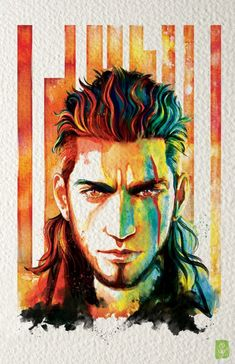 """We dem boys! I dunno if I ever compiled my Chocobros!  @FFXVEN"" Watercolor Final Fantasy XV Gladiolus"