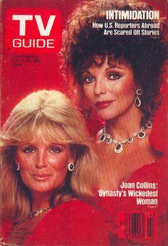 1982 TV Guide Cover with Joan Collins and Linda Evans from Dynasty Linda Evans, Joan Collins, Jackie Collins, Tvs, Sean Leonard, Der Denver Clan, 80 Tv Shows, Vintage Tv, Vintage Soul