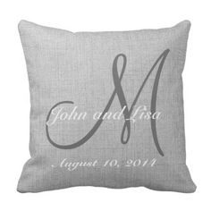 Wedding ceremony Present Monogram Customized Fake Linen Pillow. >> Discover more at the photo link