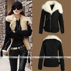 Women's NEW Warm Lush Fur Winter Cotton Padded Coat Black Outerwear Jacket Parka