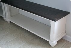 FAB DIY - This is a coffee table cut in half and turned into an entry way bench.