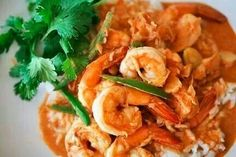 Garlic shrimp with coconut rice!!