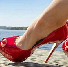 Red Patent Leather Pumps, Leather High Heel Boots, Red Pumps, Women's Pumps, Red Pump Shoes, Peep Toe Pumps, Sexy High Heels, High Heels Stilettos, Stiletto Heels