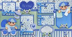 ITS-A-BOY-BABY-2-Premade-Scrapbook-Pages-paper-piecing-layout-4-album-CHERRY