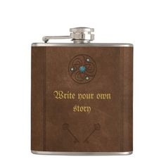 Old fairytale book write your own message hip flask - antique gifts stylish cool diy custom