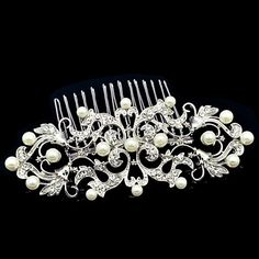 10.7cm Dossy Women Wedding Party Flower Girl Flower Comb with Rhinestone and Imitation Pearl - USD $ 8.99