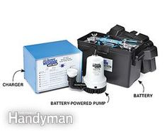 A sump pump backup with a battery switches on when the primary pump fails.