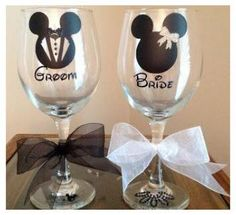 Hand painted Disney theme wine glasses