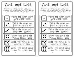 Roll a die to pick a different way to practice writing spelling words. This blog has a bunch of great printable stuff.