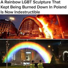 The original that had been burned was made of flowers. The new one is composed of light hitting a curtain of water at the right angle to produce a rainbow ~~~~ this just proves that love and equality always win Lgbt Quotes, Lgbt Memes, Equality Quotes, Postar No Face, Faith In Humanity Restored, Lgbt Community, Cute Gay, Gay Pride, Just In Case