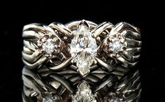 Celtic puzzle ring marquise diamond | ... Detail (Puzzle Rings - Empress Marquise 6-Band with Three Diamonds