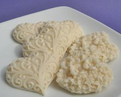Decorative Cream Heart Soaps - Six Heart-Shaped Soaps in a Gift Box.