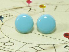Blue Stud Earrings 20 mm  Bright Resin Round Pastel Blue by biesge, $14.90