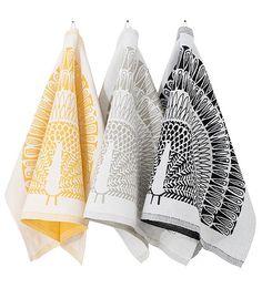 Washed Linen & Cotton RIIKINKUKKO / kitchen towel designerMasaru Suzuki washed cotton no. Peacock Pattern, Scandinavian Home, Kitchen Towels, Different Colors, Tableware, Interior, Crafts, Birches, Koti