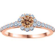 Ben Moss Jewellers 0.55 Carat TW, 10k Rose Gold Diamond Ring. Featuring Natural Brown Diamond