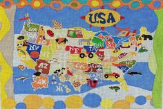 United States Map Needlepoint For A Boy's Room, designer unknown