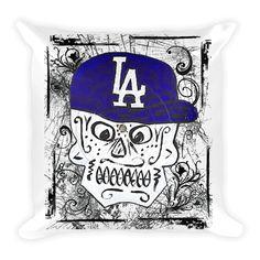 Sugar Skull LA Dodgers Throw Pillow