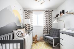 Love this nursery look; tonal grey, white, pop of yellow