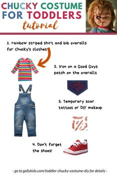 """A 3 year old chucky doll costume idea. 4 easy steps to make this costume for kids. I remember seeing a meme of one toddler in a Chucky costume with some writing saying, """"Parents! if you dress your kid in this costume - I am going to go Toddler Chucky Costume, Chucky And Tiffany Costume, Chucky Doll Costume, Diy Voodoo Doll Costume, Chucky Halloween, Halloween Costume Contest, Halloween Costumes For Girls, Diy Costumes, Costume Ideas"""