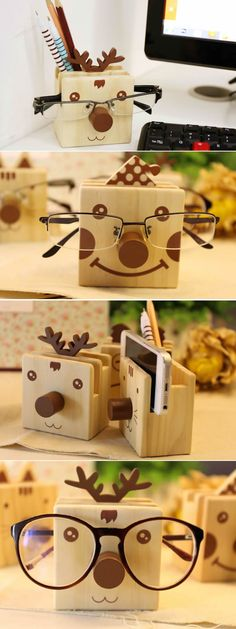 Cartoon Wooden Pen Holder With Eyeglasses Holder