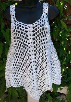 Xl white opaque crocheted cover up tank top dress by claudia s crochet creations Crocheted Cover up/Tank Top/Dress is flared for a flattering fit. It is crocheted with soft yarn, double ply to move and swing with you. Crochet Tank Tops, Crochet Summer Tops, Crochet Blouse, Débardeurs Au Crochet, Crochet Cover Up, Tank Top Dress, Tops For Leggings, Top Pattern, Crochet Clothes