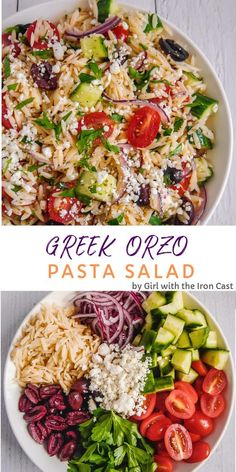 Greek orzo pasta salad with delicious vegetables and marinated in a lemony oregano vinaigrette. Perfect for a cookout or to enjoy meal prepped throughout the week! #pastasalad #orzopastasalad #greeksalad #greekpastasalad #salad #bbqside #sidedish #coldpasta #pastasaladrecipe #orzo Best Salad Recipes, Healthy Recipes, Vegetable Salad Recipes, Soup Recipes, Chicken Recipes, Vegetable Dishes, Delicious Salad Recipes, Super Food Recipes, Vegetarian Recipes