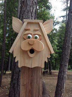 Handmade Wood Cat Birdhouse by DJsHomespunHeart on Etsy