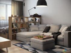 Зона спальни и зона гостиной в однушке