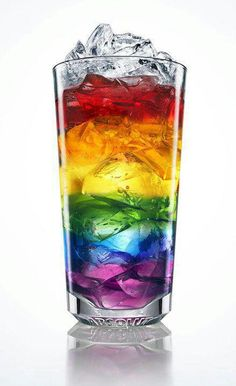 Fetch me a rainbow drink to go with it. Freeze colored ice, add to glass in layers. Fill glass with Sierra Mist. Any one else notice the glass says Absolut at the bottom? As in vodka! Fun Drinks, Yummy Drinks, Alcoholic Drinks, Beverages, Cocktails, Colorful Drinks, Cocktail Recipes, Cocktail Drinks, Drink Recipes