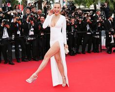 PETRA NEMCOVA : In case you forgot how amazing Nemcova's leg muscles are, here's a reminder. The model made her mark at the Loveless premiere in a 2nd Skin Co. gown featuring a slit-up-to-you-know-where and Loriblu matte leather sandals.
