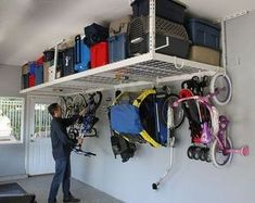 Home theaters hacks SafeRacks Overhead Garage Storage Rack Heavy Duty Ceiling Drop) Only 10 In Stock Order Today! Product Description: **SafeRack 4 x 8 Heavy Duty Overhead Garage Storage Rack is designed to he Overhead Storage Rack, Garage Storage Racks, Garage Organization Tips, Garage Storage Solutions, Storage Ideas, Garage Shelving, Garage Ceiling Storage, Cheap Storage, Storage Hacks