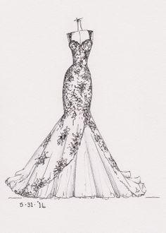 dress sketch of YOUR special dress - a perfect gift