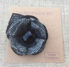 Brooch Pin / Corsage In Harris Tweed Fabric With Vintage Button Handmade By Me in Jewellery & Watches, Vintage & Antique Jewellery, Vintage Costume Jewellery | eBay